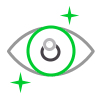 eye ball with stars icon