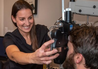 Optometrist and patient at eye exam at In Focus Eye Care, Summerside PEI 2